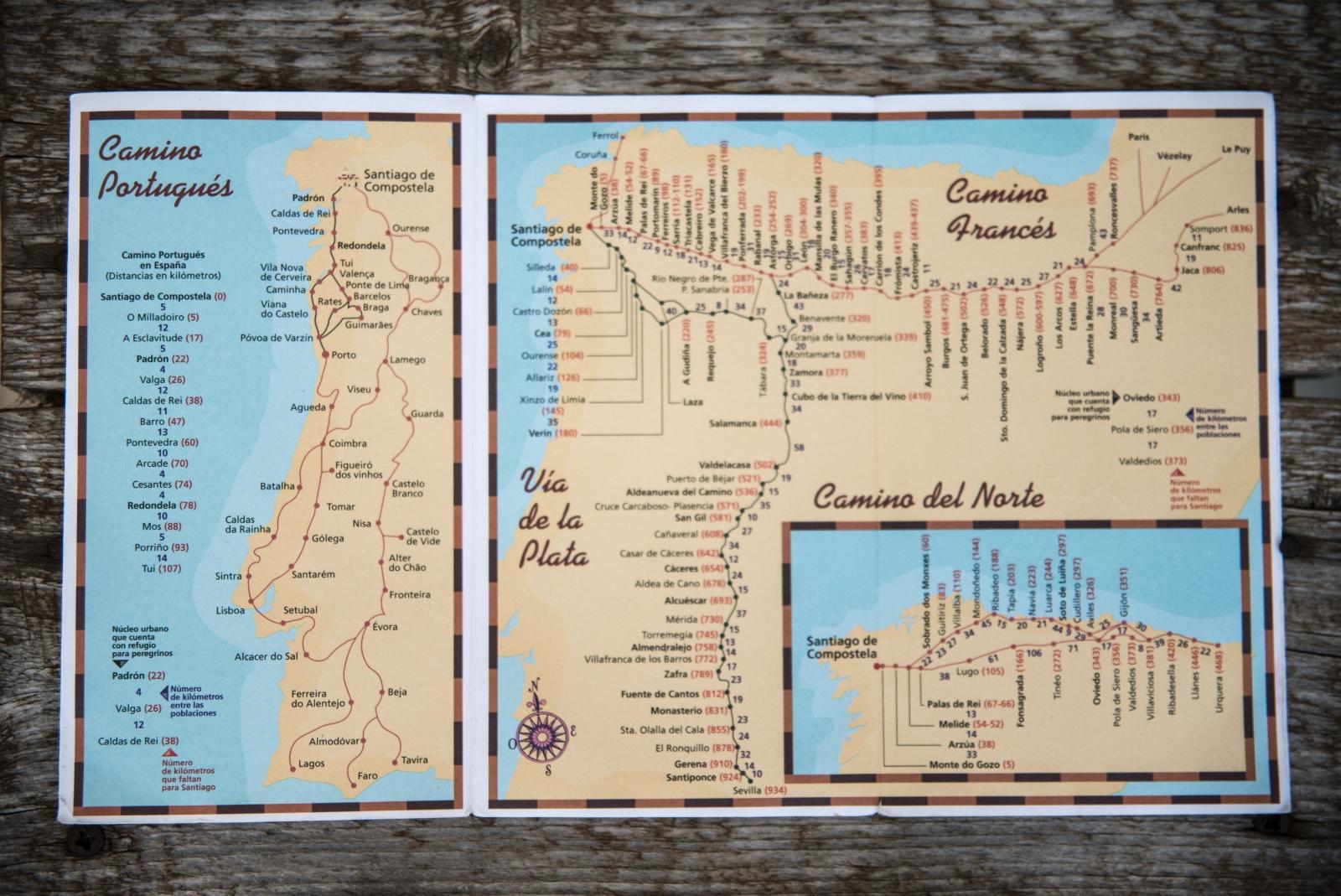 Annalisa Melas - Verso Santiago De Compostela - 2 - Una cartina semplice e precisa delle varie vie che portano a Santiago